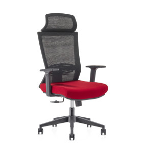 Wholesale high Back office Mesh Executive Chair , Nylon base,PP Armrest,Height adjustable headrest(YF-GA12-Red)