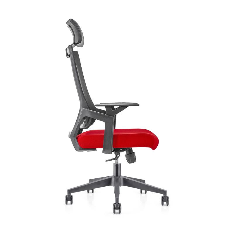 Chaise de direction en maille de bureau à haut dossier avec base en aluminium, accoudoir en PP, appui-tête réglable en hauteur (YF-GA13)