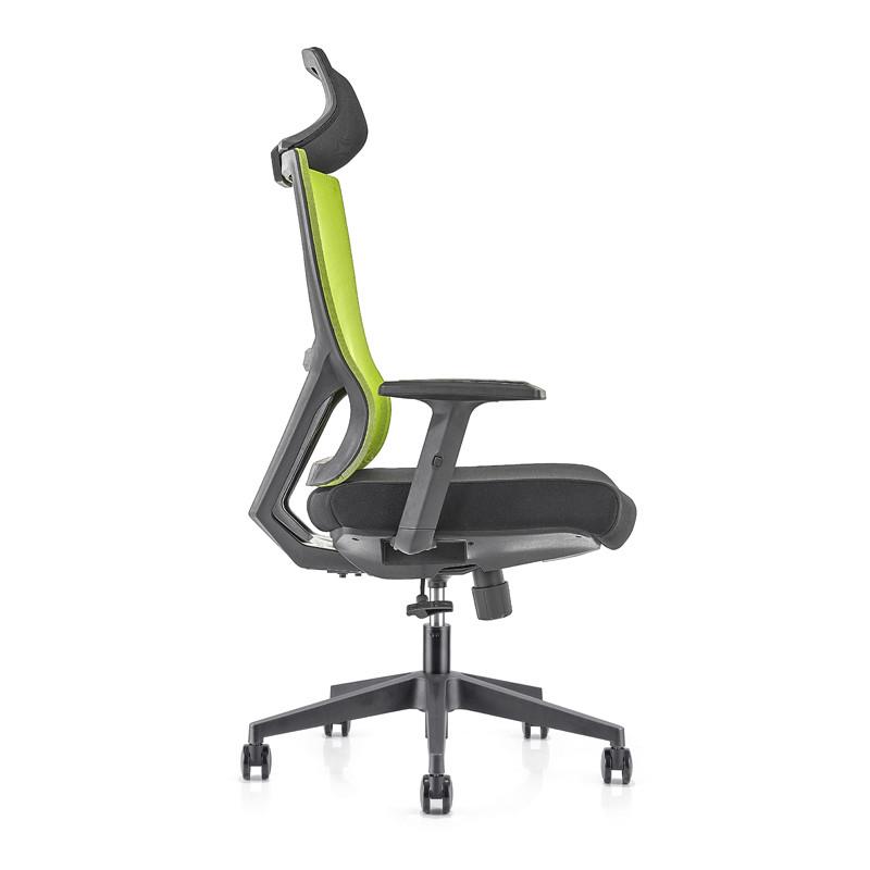 Silla ejecutiva de malla para oficina con respaldo alto con base de nailon, reposabrazos de PU, reposacabezas ajustable en altura (YF-GA15-Green)