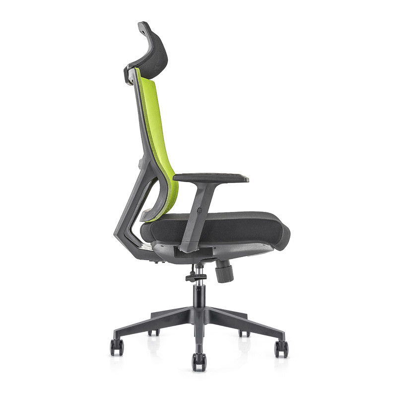 High Back office Mesh Executive Chair with nylon base,PU Armrest,height adjustable headrest(YF-GA15-Green)