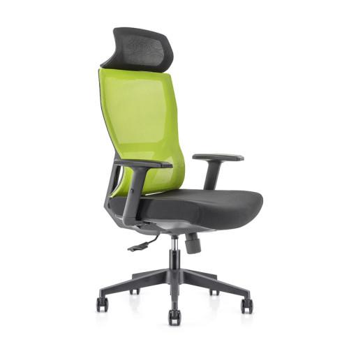Silla ejecutiva de malla para oficina con respaldo alto con base de nailon, reposabrazos de PU, reposacabezas de altura ajustable (YF-GA15-Green)