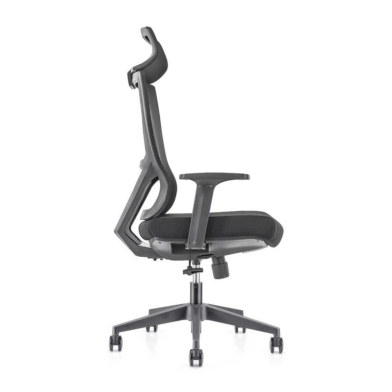 Chaise de direction en maille à dossier haut avec base en nylon, accoudoir en PP (YF-GA15)