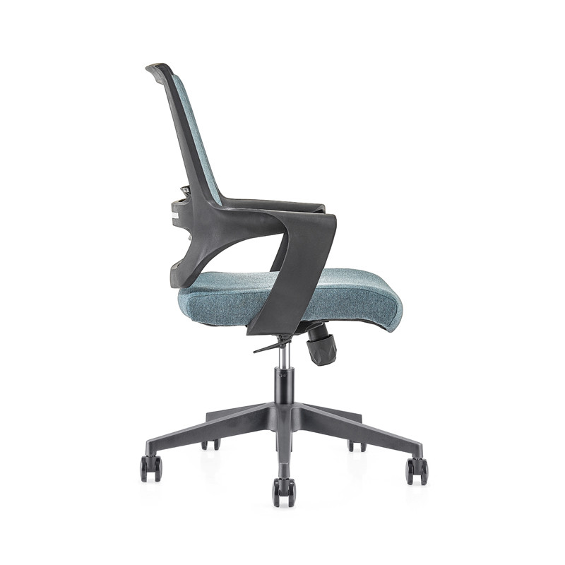 Silla de malla de oficina con respaldo medio con base de nailon de 320 mm, reposabrazos de PP, (YF-GB16-Blue)