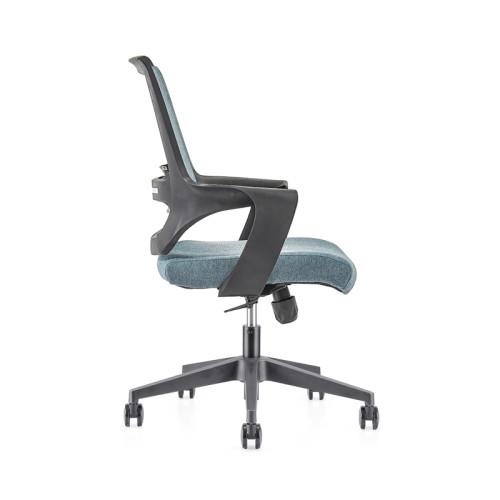 Silla de malla de oficina con respaldo medio con base de nailon de 320 mm, reposabrazos de PP (YF-GB16-Blue)
