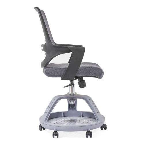 Silla de oficina de malla gruesa con respaldo medio gris al por mayor, base de nylon, apoyabrazos de PP, pies redondos para equipaje (YF-GD16)