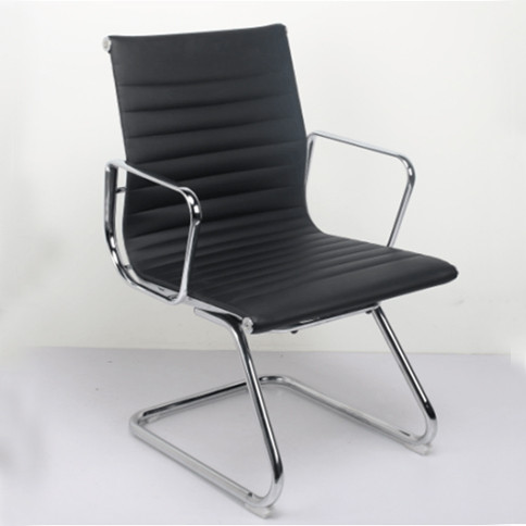 Wholesale Mid-Back Leather Office Reception and Guest Chair with Aluminum armrests(YF-C968F-2)