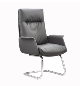Wholesale modern leather office guest bow chair without wheels (YF-C096)