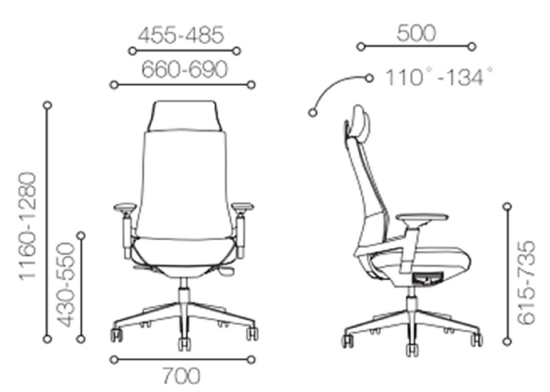 Кожаное кресло руководителя с высоким бэк-офисом с алюминиевым основанием (YF-A88BA)