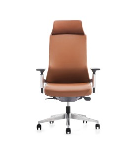 Chaise de direction en cuir à dossier haut avec base en aluminium (YF-A88BA)