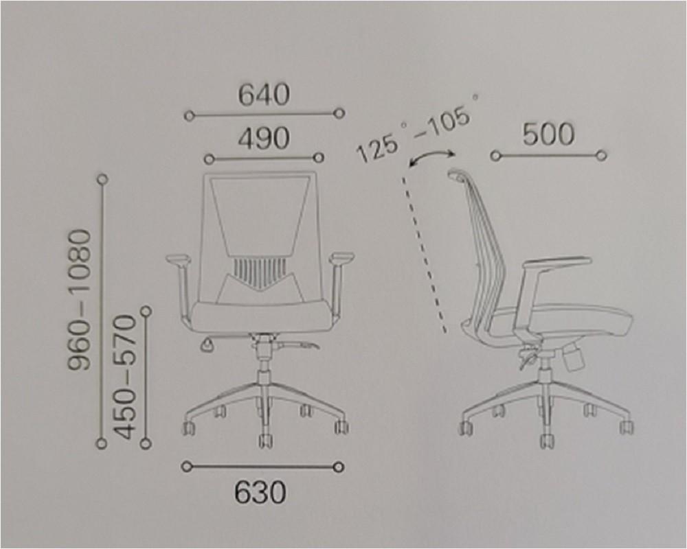 Silla de trabajo de malla de oficina intermedia con base de aluminio (YF-6630B-119)