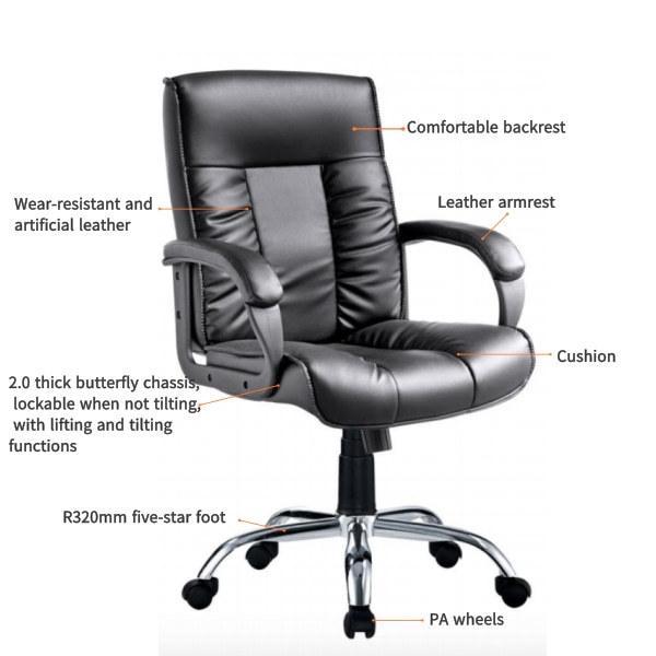 Comercio al por mayor moderno de cuero con respaldo medio Silla de oficina ejecutiva (YF-B239)