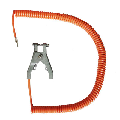 Orange grounding spiral cable with ATEX approved clamp