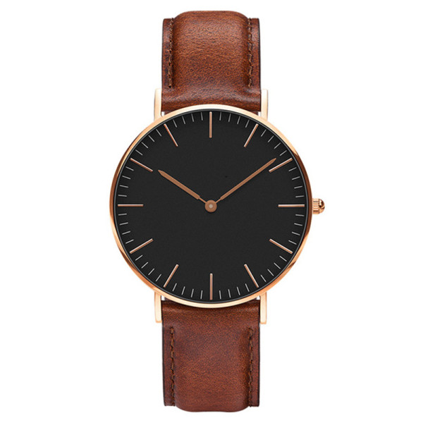 Watch With Custom Logo Men's Ultra-Thin Quartz Wrist Watch with Brown Leather Strap