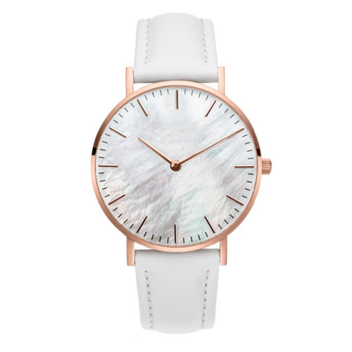 Women White Pink Rose Gold Custom Minimalist Mother of Pearl Dial Watch