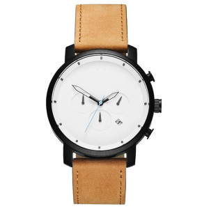 Classic Minimalist Oem Stainless Steel Leather Strap Men Chronograph Wrist Watch