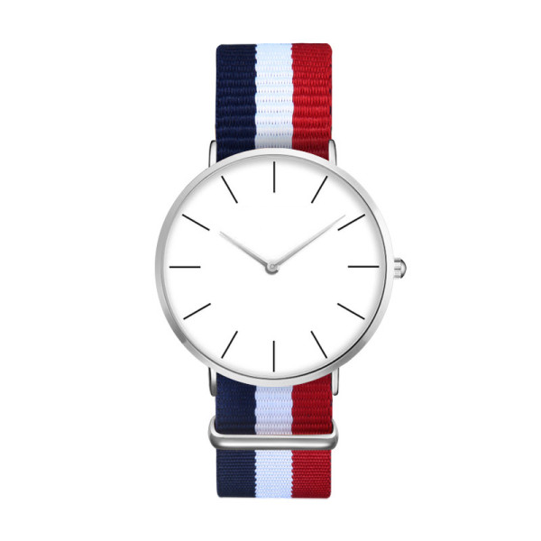 New Design Custom Logo Minimalist Nylon Strap Stainless Steel Quartz Watch