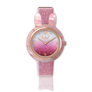 New Arrival Popular Pink Stainless Steel Custom Logo Watch with Interchangeable Strap and Ring