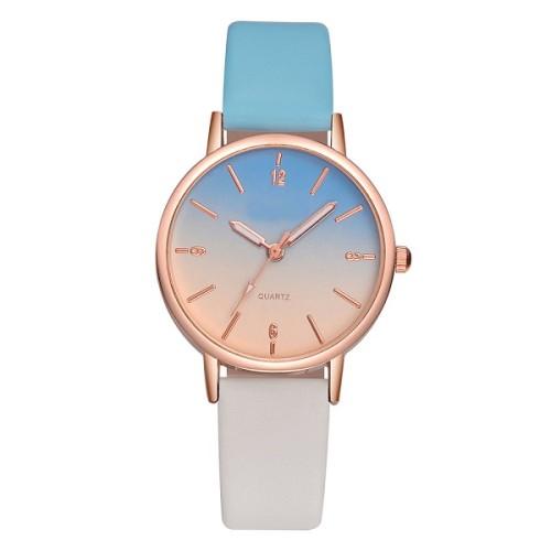 Fashion Personality Color Pointer Watch Simple Elegant Leather Gradient Ramp Strap Quartz Ladies Wrist Watch