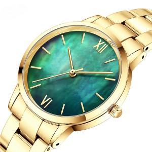 2021 HAGNA Hot sale slim green women watch oem odm customize stainless steel quartz round lady watch