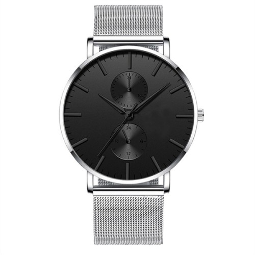 Stainless Steel high quality Minimalist Custom Logo Fashion Black Mens Slim Brand Chronograph Watch
