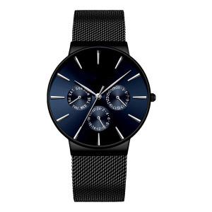 OEM Sunray Face Minimalist Luxury Brand Custom Logo Chronograph Men Quartz Watch with Three Sub-dials