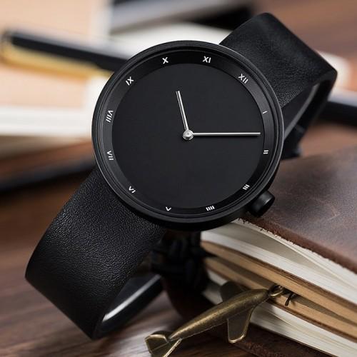 2021 Simple Man Watches Black Stainless Steel Leather Strap Custom Logo Men Watch Black