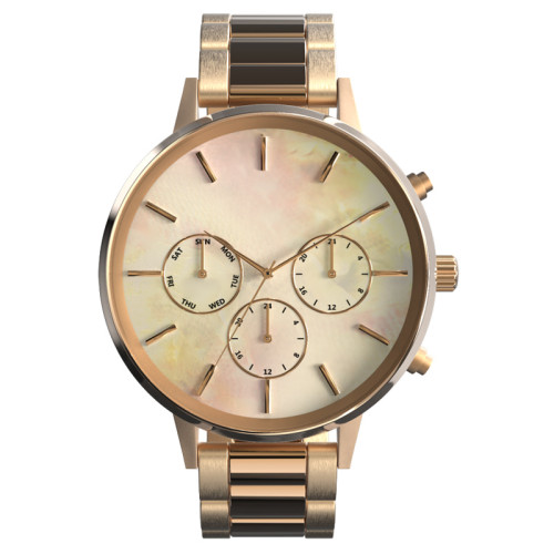 316L Stainless Steel Case Stainless Steel Chain Band Shell Dial Functional Chronograph Women Female Watches