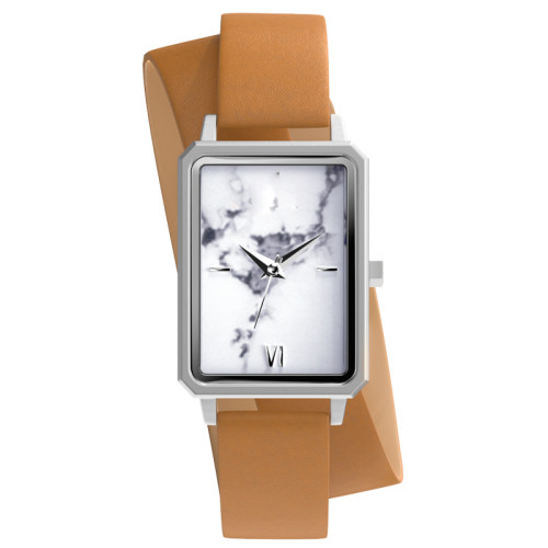2021 new arrival white marble stone dial stainless steel square women wrist watch with double loop long band