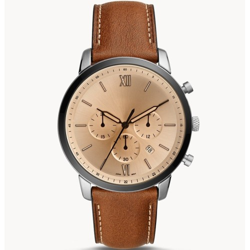 New fashion three second dial brown leather business men's wrist watches