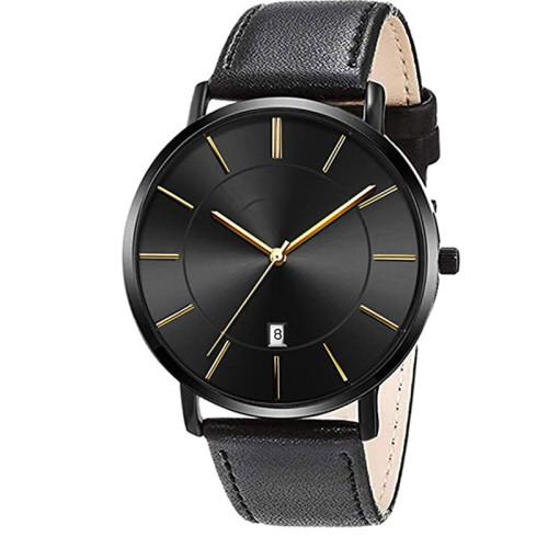 Minimalist ultra thin fashion casual analog quartz date watch