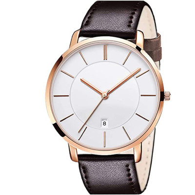 2021 new waterproof slim simple big face dress wrist watch with retro leather band watch for men