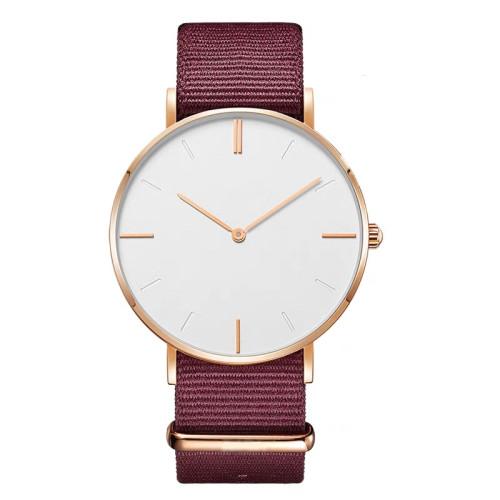 OEM fashion nylon strap simple waterproof couple quartz watches