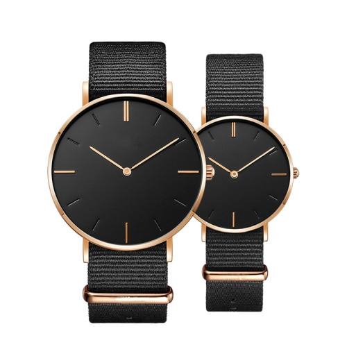 OEM wrist sport nylon strap simple 3 ATM life waterproof couple quartz lovers watches
