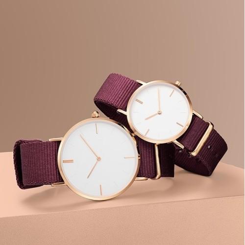 Multi color nylon strap natural texture simple 3 ATM waterproof quartz lovers fashion watches