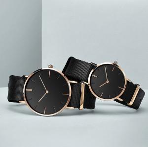 OEM wrist fashion nylon strap simple life waterproof couple quartz men's watches