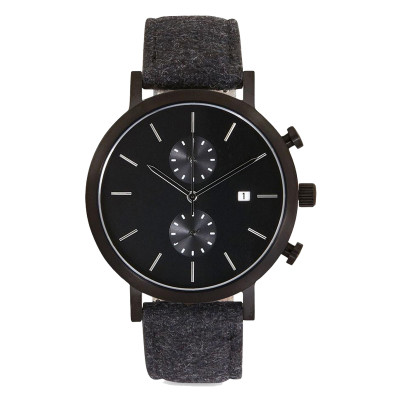 Custom private label high quality luxury chronograph steel water proof leather quartz watch
