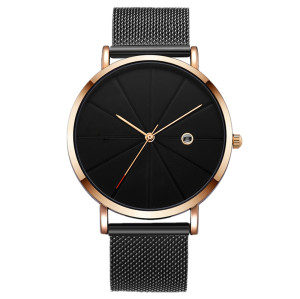 Private Label All Black Men Watches Interchangeable Milanese Bands Watches