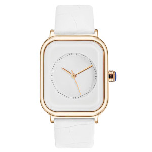 2021 Fashion Square Wrist Watch Women Stainless Steel Watch with Leather Strap