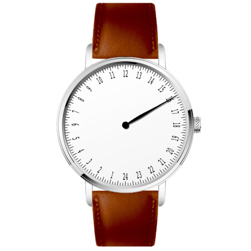 2021 New Collection custom logo minimalist 24 hour dial quartz watch with leather strap