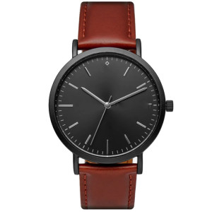 Custom logo luxury quartz men's wrist watch dark brown leather strap watches
