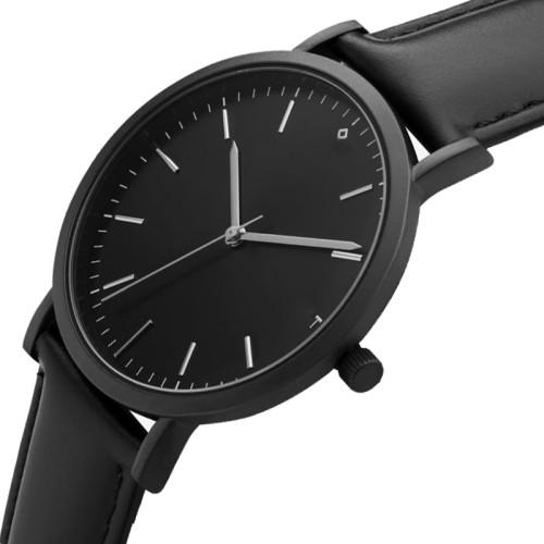 Quartz Minimalist Custom Brown Black For Men Genuine Leather Watch