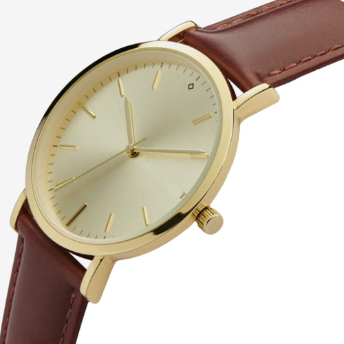 Custom Oem Men's Business Wrist Watch Brown Leather Strap Watches