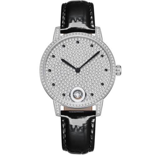 Fashion Women Watch Leather Quartz Watch Luxury High Quality Diamond bling Round Women watch