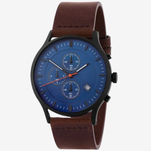 Luxury stainless steel high quality fashion black watches leather chronograph watch