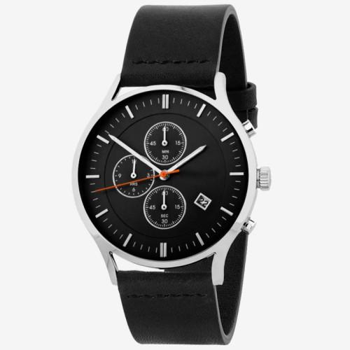 Minimalistic 30M Waterproof Mens Genuine Leather Multi Functional Sport Quartz Chronograph Watch