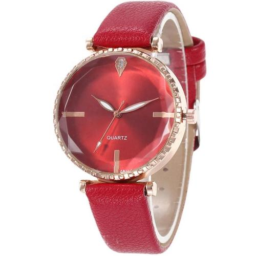 Factory Supply Elegant Luxury Crystal Quartz Fashion Style Genuine Leather Lady Wrist Watches