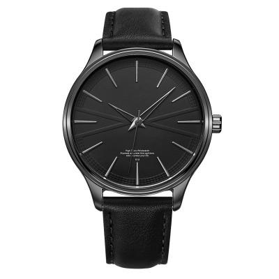 Custom Logo Ultra Thin Stainless Steel Minimalist Men Black Leather Band Watch