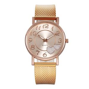 Wholesale Mesh Stainless Steel Watch Waterproof Luxury Quartz Watch With Gemstone For Women
