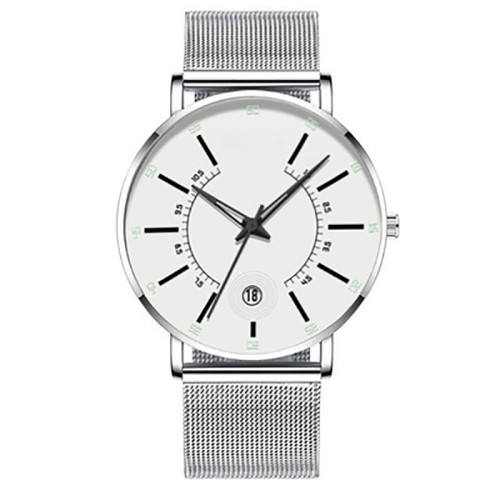 Top-ranking Quartz Watches For Couple With Stainless Steel Band Silver Wristwatch Waterproof Luminous Unisex Watches For Lover