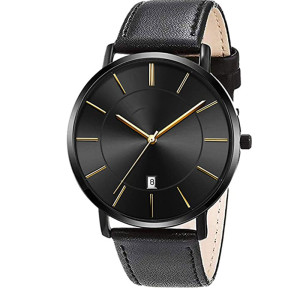 Leather Band Simple Big Dial Calendar Male Quartz Watch Day Date Cheap Attractive Fashion Business Men Hand Quartz Watch